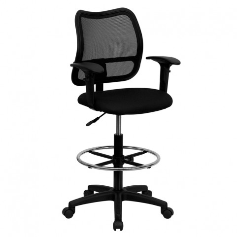 Mid-Back Drafting Stool with Black Fabric Seat and Arms