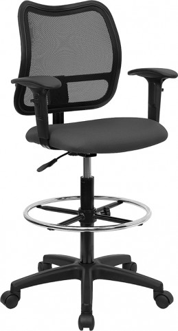 Mid-Back Drafting Stool with Thick Gray Fabric Seat and Arms