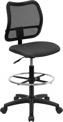 Mid-Back Drafting Stool with Thick Gray Fabric Seat