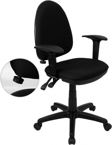 Black Multi Functional Task Chair with Arms and Adjustable Lumbar Support
