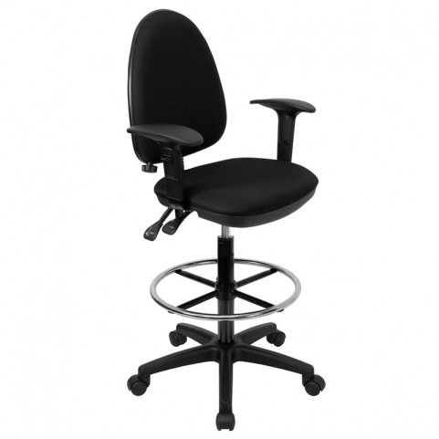 Black Multi Functional Drafting Stool with Arms and Adjustable Lumbar Support