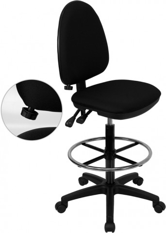 Black Multi Functional Drafting Stool with Adjustable Lumbar Support