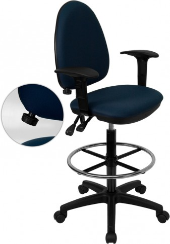 Navy Blue Multi Functional Drafting Stool with Arms and Adjustable Lumbar Support