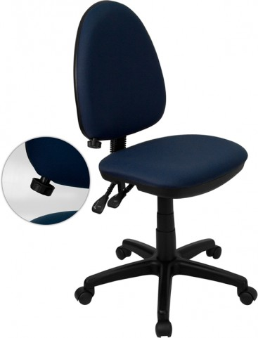 Navy Blue Multi Functional Task Chair with Adjustable Lumbar Support