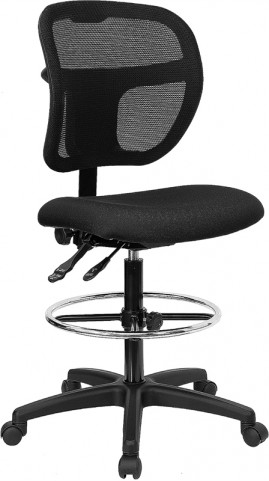 Mid-Back Drafting Stool with Black Fabric Seat