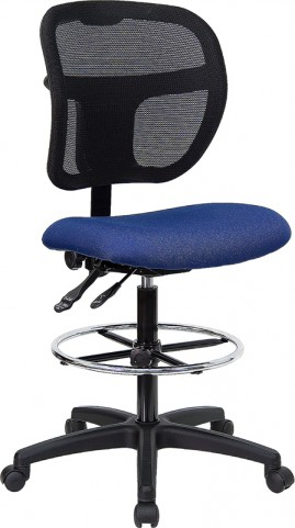 Mid-Back Drafting Stool with Navy Blue Fabric Seat
