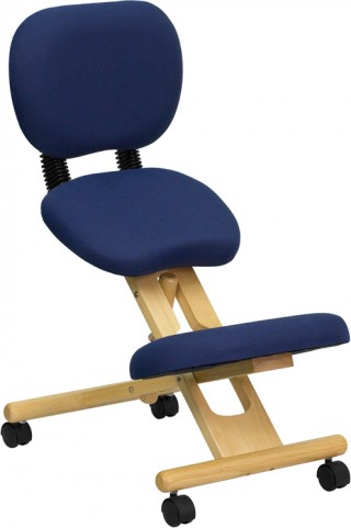 Wooden Ergonomic Kneeling Office Chair with Reclining Back
