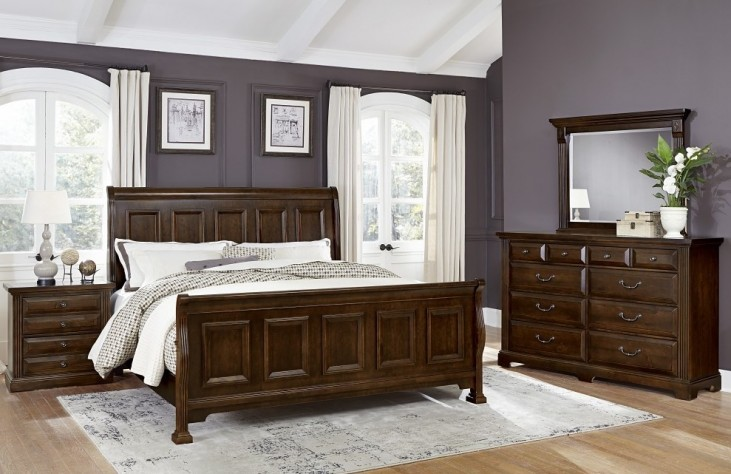 Woodlands Cherry Sleigh Bedroom Set