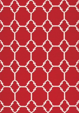 Wool Dhurry Red Ogee Rug