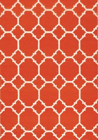 Wool Dhurry Orange Ogee Rug