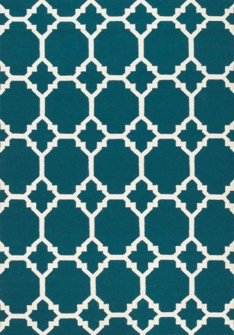 Wool Dhurry Teal Ogee Rug
