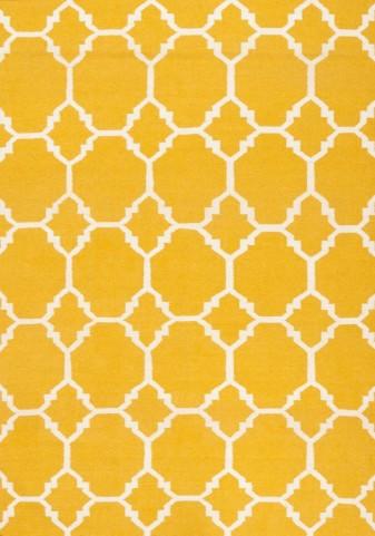 Wool Dhurry Yellow Ogee Rug