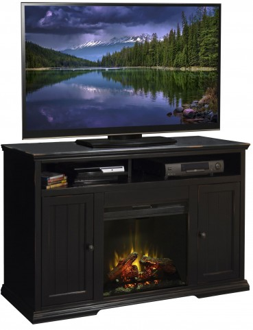 "Waterton Rustic Black 59"" Fireplace Console"