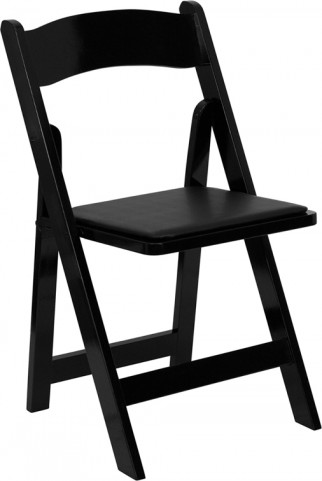 Hercules Black Wood Folding Chair - Padded Vinyl Seat