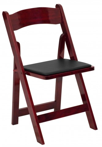Hercules Series Mahogany Wood Folding Vinyl Chair