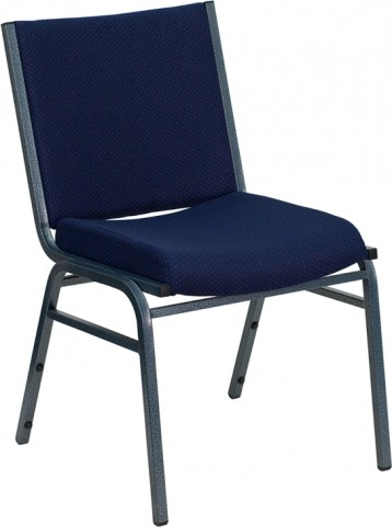 Hercules Heavy Duty 3'' Padded Navy Patterned Upholstered Stack Chair