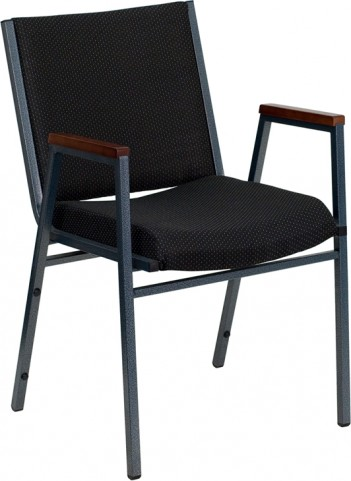 Hercules Heavy Duty, 3'' Thickly Padded, Black Patterned Upholstered Stack Chair with Arms