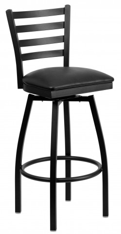 Hercules Series Black Ladder Back Black Vinyl Swivel Metal Bar Stool
