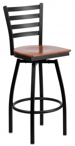 Hercules Series Black Ladder Back Cherry Wood Swivel Metal Bar Stool