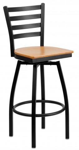 Hercules Series Ladder Back Natural Wood Seat Swivel Metal Bar Stool