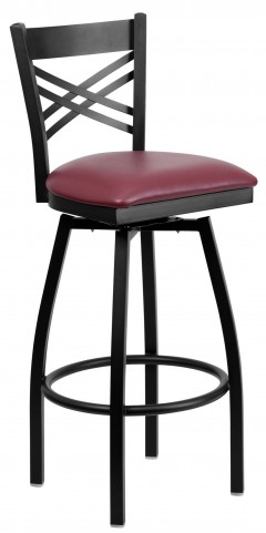 "Hercules Series Black ""X"" Back Burgundy Vinyl Swivel Metal Bar Stool"