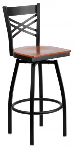 "Hercules Series Black ""X"" Back Cherry Wood Swivel Metal Bar Stool"