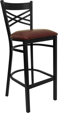 Hercules Black X Back Metal Restaurant Bar Stool Burgundy Vinyl Seat