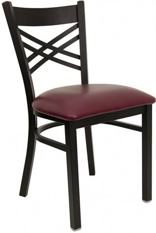 Hercules Black ''X'' Back Metal Restaurant Chair W/Burgundy Vinyl Seat