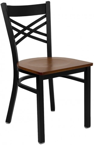 Hercules Black ''X'' Back Metal Restaurant Chair - Cherry Wood Seat