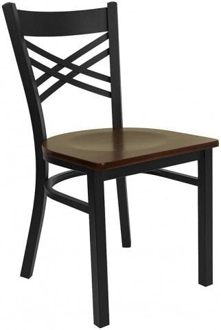 "Hercules Black """"X"""" Back Metal Restaurant Chair - Mahogany Wood Seat"