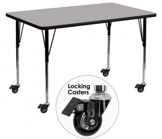 "Mobile 24"" Rectangular Adjustable Height Gray Activity Table"