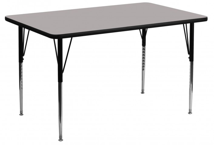 "24"" Rectangular Adjustable Height Gray Activity Table"
