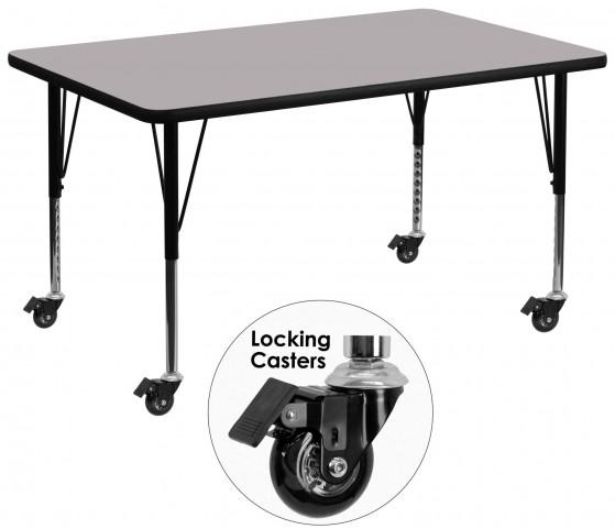 "Mobile 24"" Rectangular Pre-School Gray Activity Table"