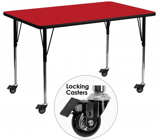 "Mobile 24"" Rectangular Adjustable Height Red Activity Table"