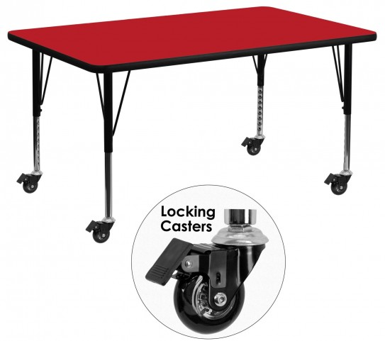 """Mobile 24"""" Rectangular Pre-School Adjustable Height Red Activity Table"""