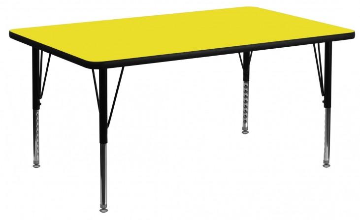 "24"" Rectangular Pre-School Adjustable Height Yellow Activity Table"