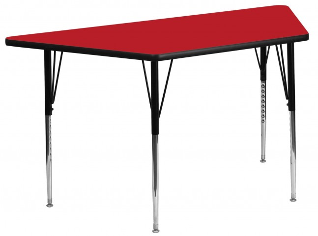 "24"" Trapezoid Adjustable Height Red Activity Table"