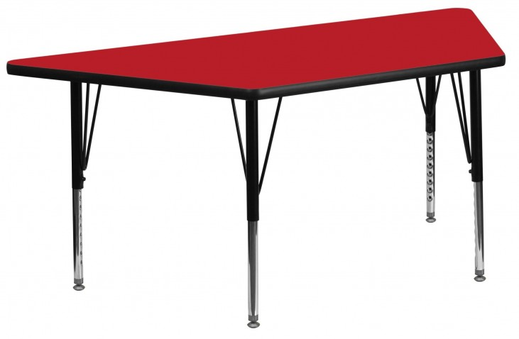 "24"" Trapezoid Pre-School Adjustable Height Red Activity Table"
