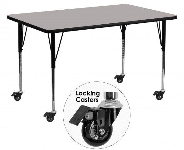 "Mobile 60""L Rectangular Adjustable Height Gray Activity Table"