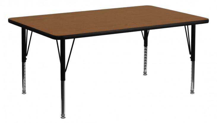 "60""L Rectangular Pre-School Adjustable Height Oak Activity Table"