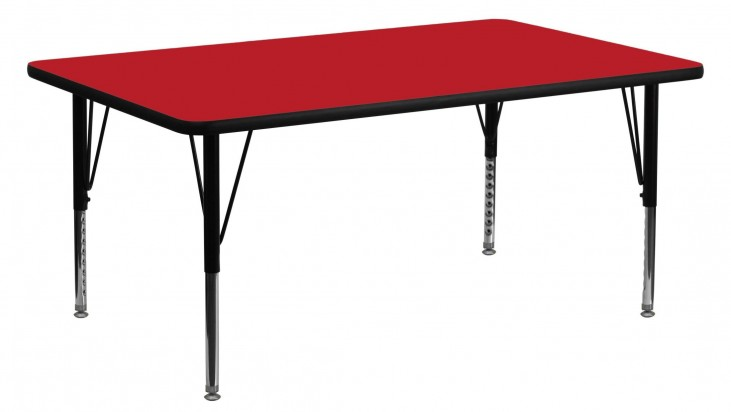 "60""L Rectangular Pre-School Adjustable Height Red Activity Table"