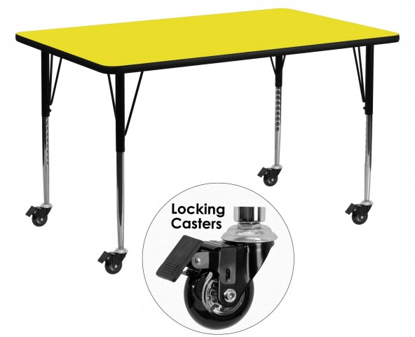 "Mobile 60""L Rectangular Adjustable Height Yellow Activity Table"