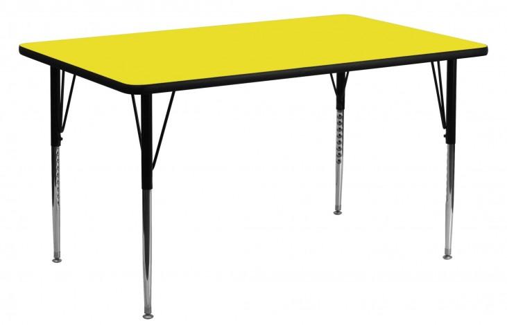 "60""L Rectangular Adjustable Height Yellow Activity Table"