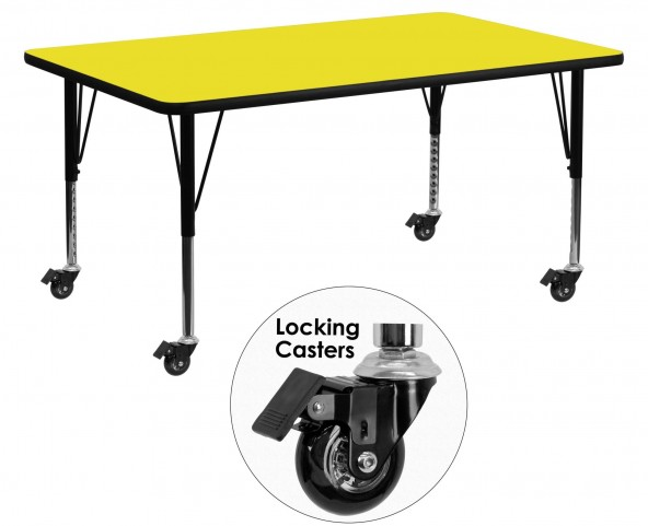 "Mobile 60""L Rectangular Pre-School Adjustable Yellow Activity Table"