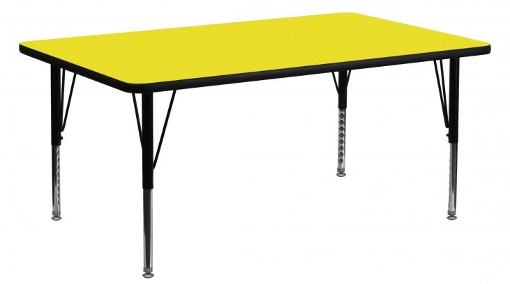 "60""L Rectangular Pre-School Adjustable Height Yellow Activity Table"