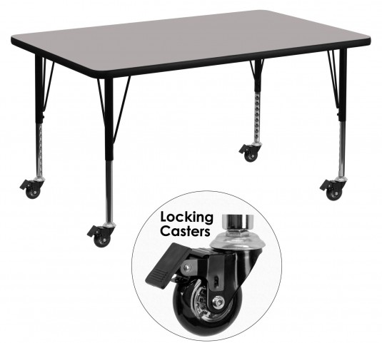 "Mobile 48""L Rectangular Pre-School Adjustable Gray Activity Table"