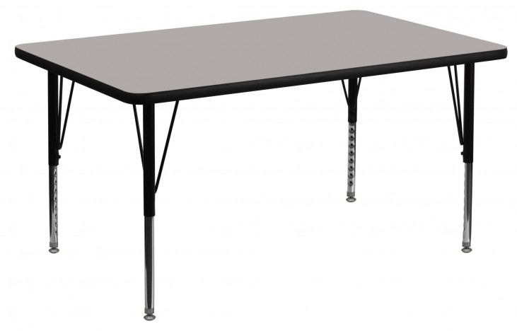 "48""L Rectangular Pre-School Adjustable Height Gray Activity Table"