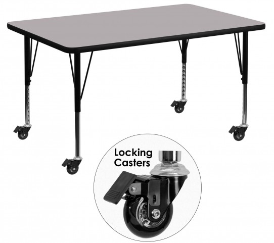 "Mobile 48""L Rectangular Pre-School Gray Activity Table"