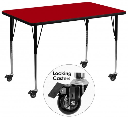 "Mobile 48""L Rectangular Red Activity Table"