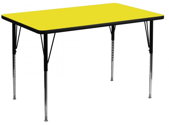"48""L Rectangular Adjustable Height Yellow Activity Table"